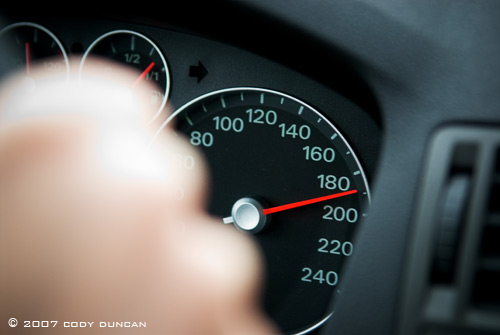 speedometer of car while driving at high speed on autobahn, Germany. Cody Duncan Photography