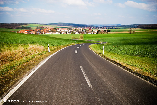 Rural road to small town, Germany. Cody Duncan Photography