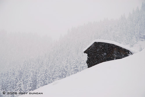 © cody duncan photography.  Barn in snow storm in Gimmelwald, Switzerland