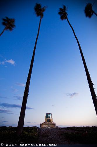 bulldozer on beach in Santa Barbara California - Cody Duncan Photography