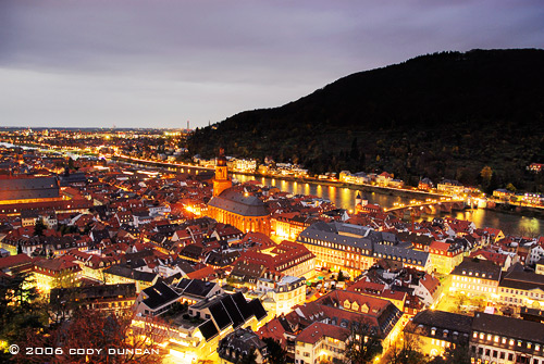 © Cody Duncan photography. Nightime view of Heidelberg, germany