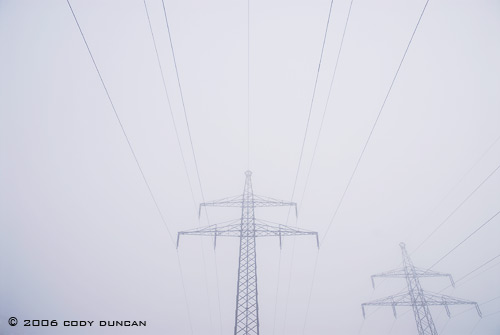 © Cody Duncan photography.  Foggy German powerlines Bavaria