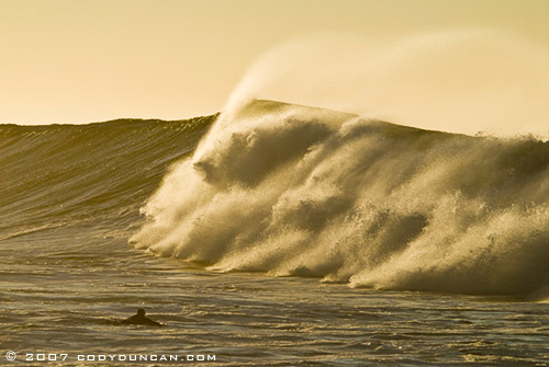 large wave at sunrise, Rincon Point, Santa Barbara