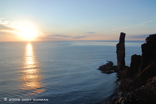 © Cody Duncan Photography.  Silhouette of old man of Hoy at sunset, Hoy, Orkney, Scotland