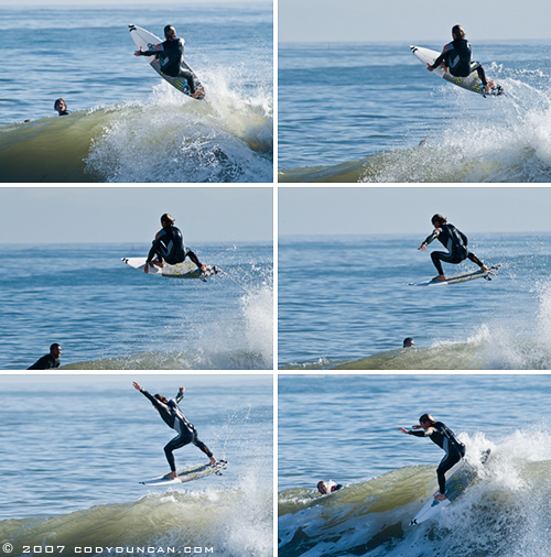 surfer arial action sequence, Sandspit, Santa Barbara december 2007