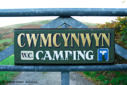 © Cody Duncan photography.  camping sign in Welsh language