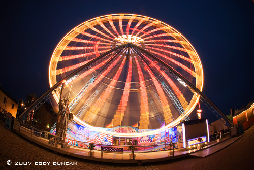 ferris wheel in rostock harbor