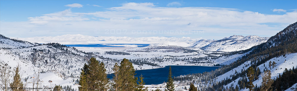 © cody duncan photography.  Panoramic view of snow covered eastern sierra and Mono lake and June lake