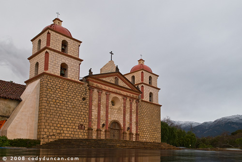 © Cody Duncan Photography. Santa Barbara mission with snow on Santa Ynez Mountains