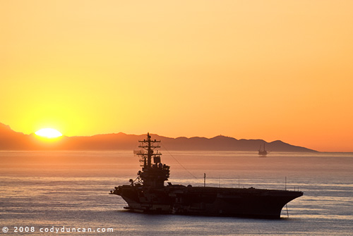 © 2008 Cody Duncan Photography. USS Ronald Reagan aircraft carrier at port in Santa Barbara, California. January 2008