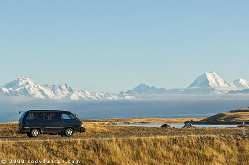 © 2008 cody duncan photography. camper van parked infront of Mt. Cook, new zealand