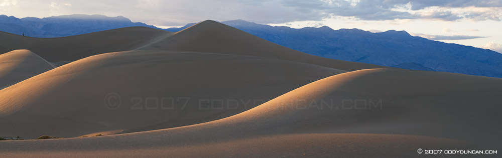 Death Valley stock photography: Panoramic of Sand dune, Stovepipe wells.  © Cody Duncan Photography