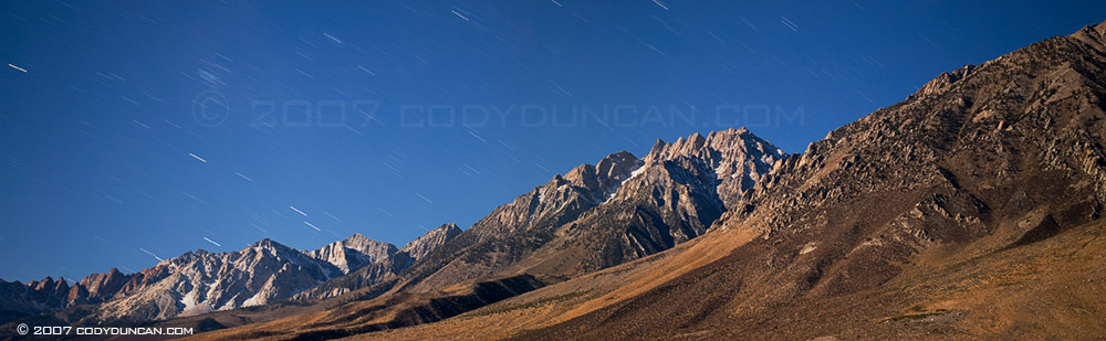 Cody Duncan stock photography: Night panoramic of Sierra Nevada Mountains, California.  © Cody Duncan Photography