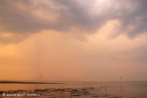 Lightning over wadden sea from Island of Juist, Germany. © Cody Duncan Photography