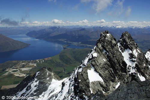 New Zealand travel photography: Lake Wakatipu from top of Double cone in Remarkables mountain range. © Cody Duncan Photography