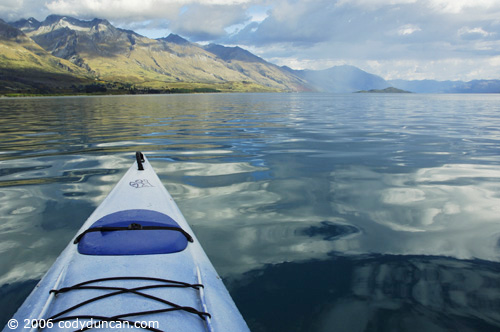 New Zealand travel photo: Kayak on lake Wakatipu.  © Cody Duncan Photography