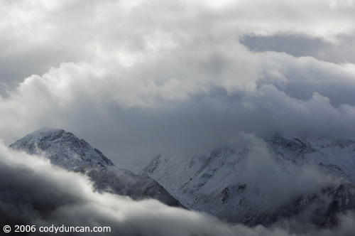 New Zealand travel photo: Summer snow storm in mountains above lake Wakatipu. © Cody Duncan Photography