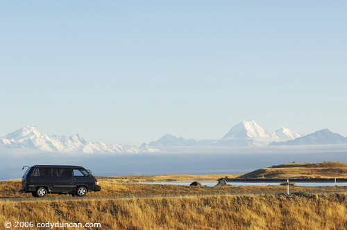 Old Campervan parked along road with Mount Cook in background, New Zealand. © Cody Duncan Photography