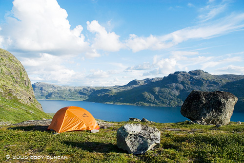 MSR Hubba tent at campsite above lake in Jotunheimen national park, Norway. © Cody Duncan Photography