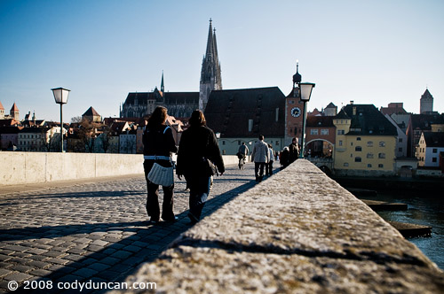 German travel photo: stone bridge over Danube, Regensburg, Germany. © Cody Duncan Photography