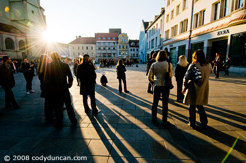 German travel photography: crowd of people watching street performers, Regensburg, Germany. © Cody Duncan Photography