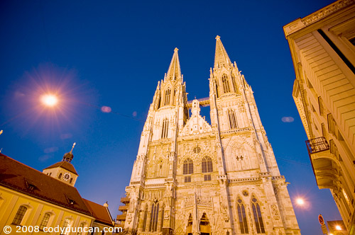 German travel photography: night time exterior of Dom cathedral Regensburg, Germany. © Cody Duncan Photography