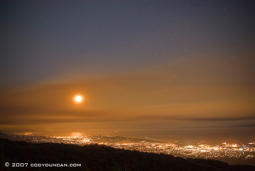 Cody Duncan Stock Photography: Smoke blocking full moon over Santa Barbara from Zaca fire, 2007 . © Cody Duncan photography