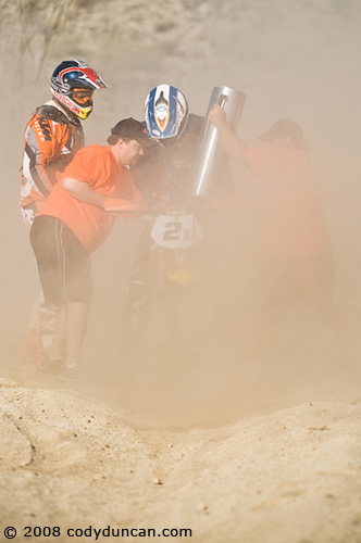 2008 Baja 250 San Felipe  KTM riders David pearson and Quinn Cody at pit stop.  © Cody Duncan Photography