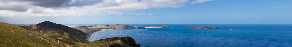 New Zealand travel stock photo: Panoramic Photograph of Cape Reinga, New Zealand. © Cody Duncan photography