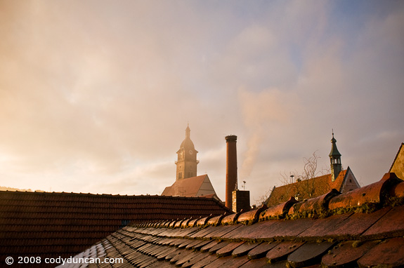 Cody Duncan travel photography: rooftop view at sunrise in Auerbach, Germany. © 2008 Cody Duncan Photography