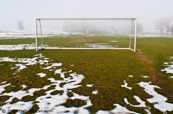 Cody Duncan travel photography: snowy soccer field in Auerbach, Germany. © 2008 Cody Duncan Photography