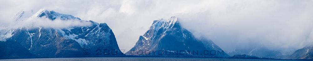 Norway Stock Photo: Panoramic photograph of Lofoten Islands in Storm.  © Cody Duncan Photography