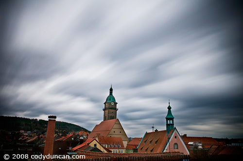 Germany travel stock photo: Stormy skies over small Bavarian town. © Cody Duncan Photography