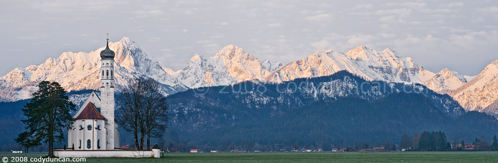 Cody Duncan Stock Photography: Panoramic of St. Coloman Church, Schwangau, Bavaria, Germany. © Cody Duncan Photography