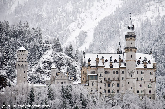 Cody Duncan Stock Photography: Neuschwanstein castle with winter snow, Fuessen, Bavaria, Germany. © Cody Duncan Photography