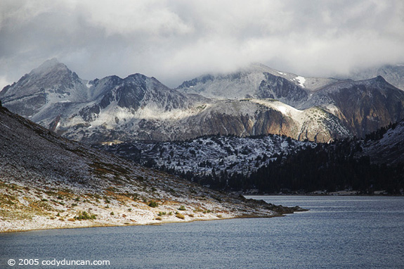 Cody Duncan stock photography: Autumn snow on Sierra Nevada mountains and Saddlebag lake, California. © Cody Duncan photography