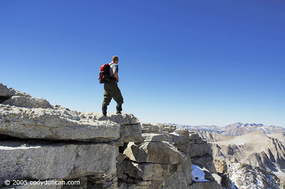 Cody Duncan Stock Photography: Self portrait on summit of Mount Langley, Sierra Nevada mountains, California. © Cody Duncan photography