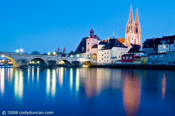 Cody Duncan travel photo: stone bridge across Danube river, Regensburg, Germany. © 2008 Cody Duncan photography