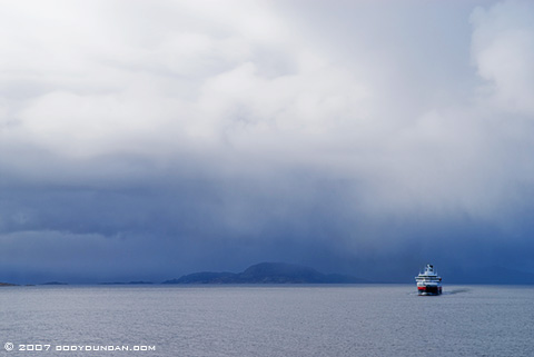 Cody Duncan Travel Photography: Stormy weather along Norwegian coast from Hurtigruten coastal ferry. © Cody Duncan photography