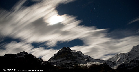 Cody Duncan Travel Photography: Night clouds and passing over mountains in Bernese alps of Switzerland. © Cody Duncan Photography