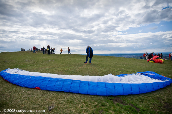 Paraglider and parachute Walberla, Germany. Cody Duncan travel stock photography