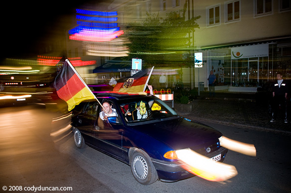 Cody Duncan Photo: German football fans celebrate 3:2 victory over portugal in Auerbach, Germany