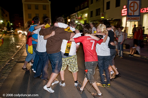 June 25 2008, German soccer fans celebrate German win over Turkey, 2008 UEFA soccer cup. © Cody Duncan Photography