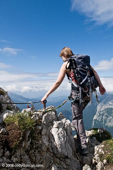 Woman hiking on Westliche Karwendelspitze (2384m) - Mittenwalder Hoehenweg (klettersteig). Cody Duncan photography