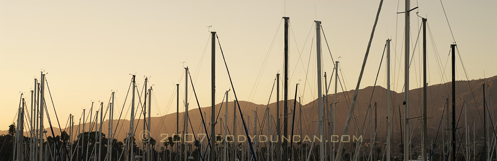 Cody Duncan Stock Photo: Panoramic Photograph of Santa Barbara Harbor, California.  © Cody Duncan Photography
