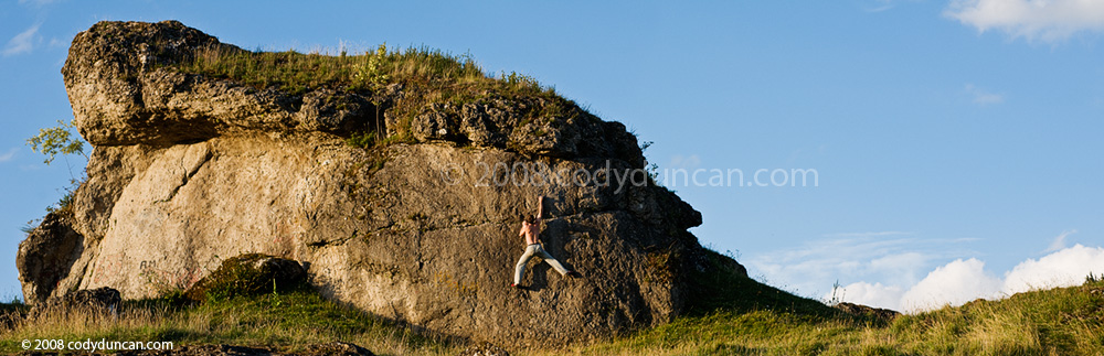 Cody Duncan Stock Photo: panorama photo of bouldering in Frankenjura region, Germany