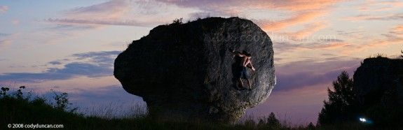 rock Climbing Germany Photo: Panoramic picture of climber bouldering at sunset. Cody Duncan photography