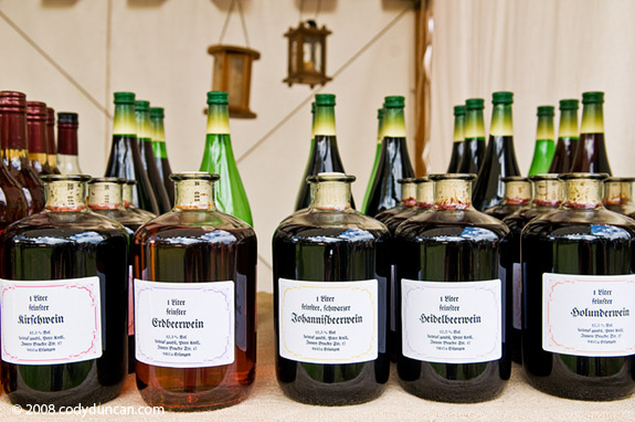 Germany Travel Photo: Bottles of berrywine at Medieval market and festival at Burg Rabenstein castle, Franconia, Germany. © Cody Duncan photography