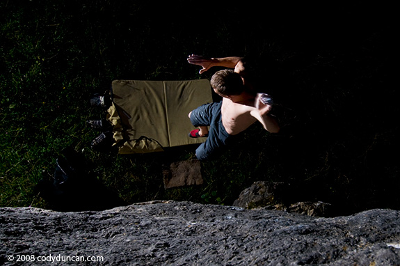 rock Climbing Germany Photo: Rock climber bouldering at night. Cody Duncan photography