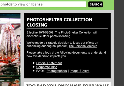 PSC - Photoshelter collection stock agency closing notice on front page